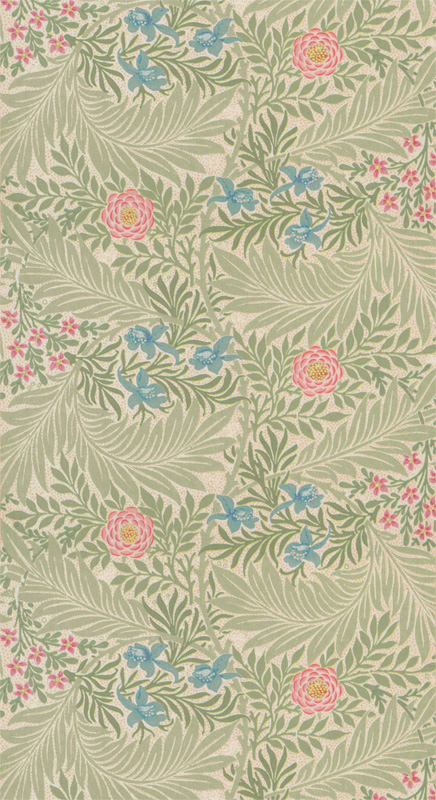 Tapet nr 81482  Navn- Larkspur Green:Coral  Produsent- William Morris & Co