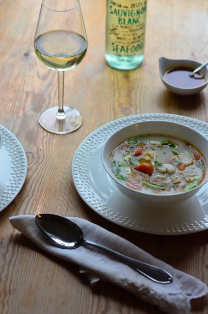 fiskesuppe, fishsoup, signe schineller Wik & Walsøe, Sauvignon Blanc, Rosemount wine, hvitvin, whitewine,