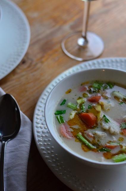 fiskesuppe, fishsoup, signe schineller Wik & Walsøe, Rosemount wine, hvitvin, whitewine,