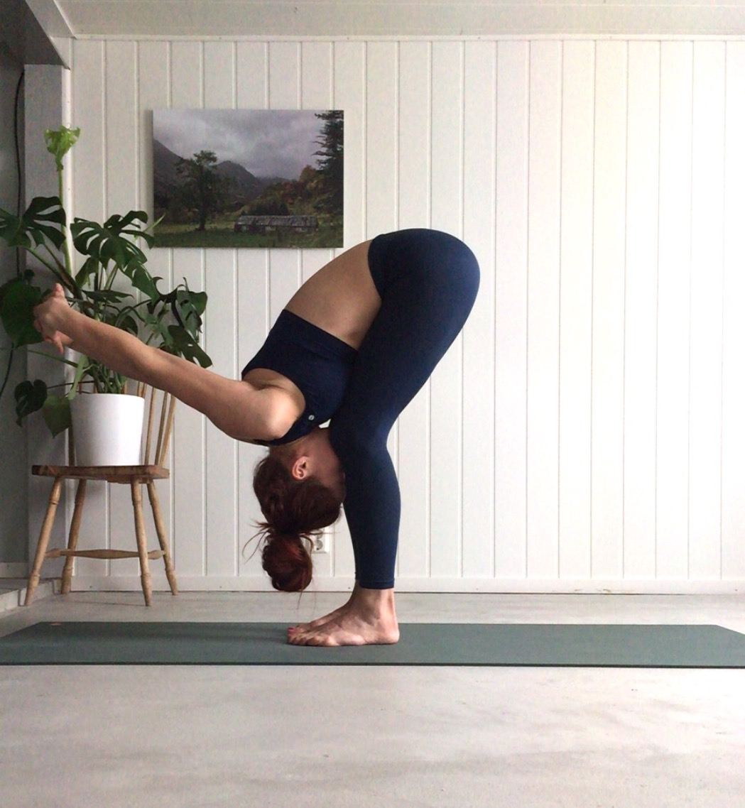 Uttanasana- Standing forward fold Ardha Pincha Mayurasana, yoga i rosendal, signe schineller, yoga signe schineller, run & relax, yoga retreat, yoga med signe, manduka, lumi yoga,