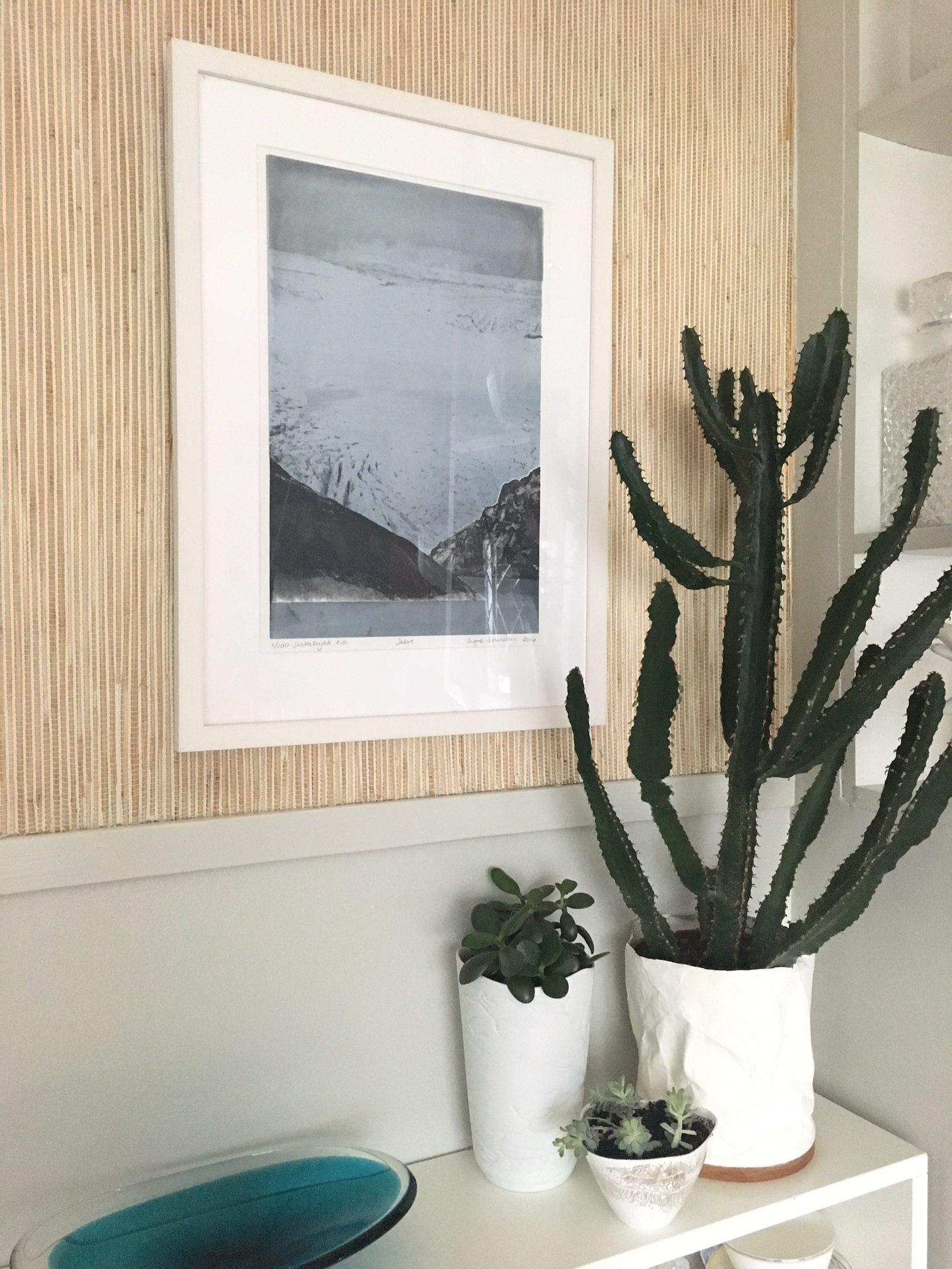 Silketrykk, folgefonna, glacier, signe kunst, Rosendal kunst, Biri tapet, stråtapet, wallpaper, straw wallpaper, nostalgisk interiør,